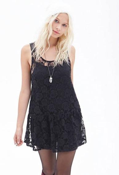 Vestido Forever 21 De Encaje Algodón Negro Talle M - 6013