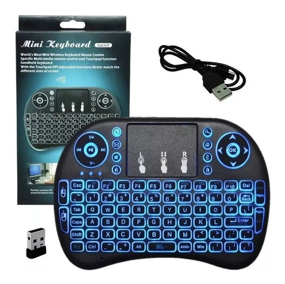 Mini Teclado Sem Fio Com Led Touch Pad Smart Tv Pc Celular