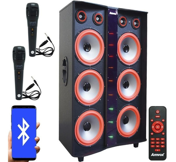 Caixa Som Bluetooth 3000w Usb Led 6 Sub 2 Microfones Paredão