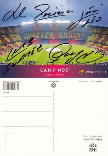 Postal 10x15 Autografo Original Messi Suarez Neymar Iniest