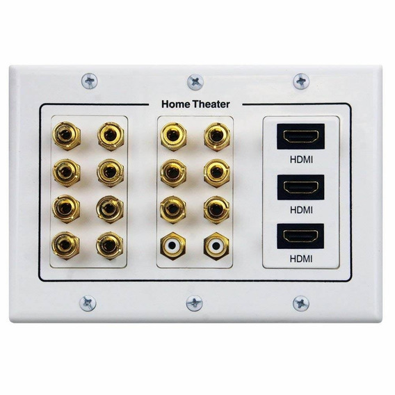 7.1/7.2 Home Theater Speaker Wall Plate 24k Gold Plated With