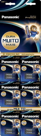 12 Pilhas Alcalinas Panasonic Premium Aaa (palito)
