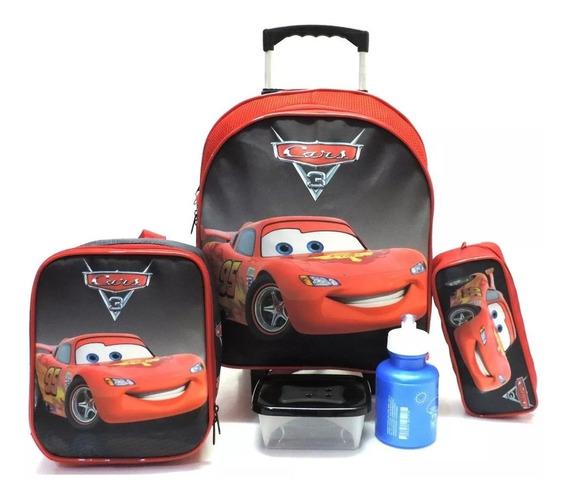 Kit Mochila Infantil Escolar Carros Liso Relâmpago Mc Queen Rodinhas Tam M F5