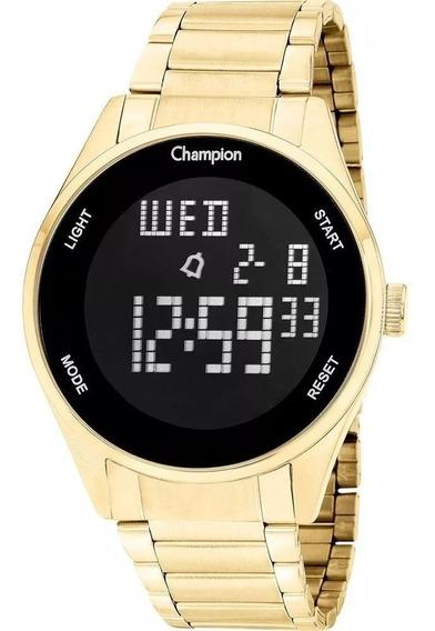 Relógio Feminino Dourado Ouro 18k Fundo Preto Digital