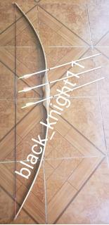 Arco Medieval De Madera Puño Grueso 2 Flechas Large Espada