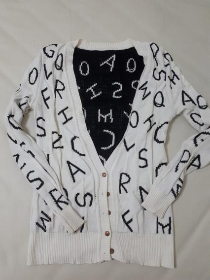 Saco Beige Negro Con Letras