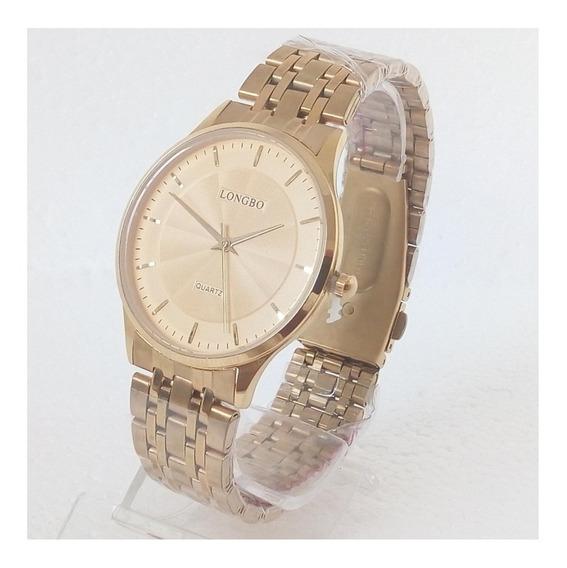Relógio Masculino Dourado Longbo Original Social Vip Luxo