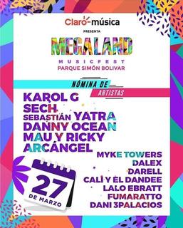 Boletas Megaland Invitados 2020 - 27 Marzo- 3:00 Pm-bogotá
