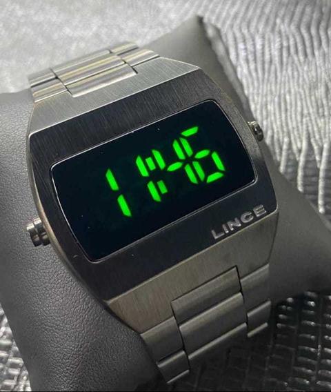 Relógio Lince Masculino Dourado De Led