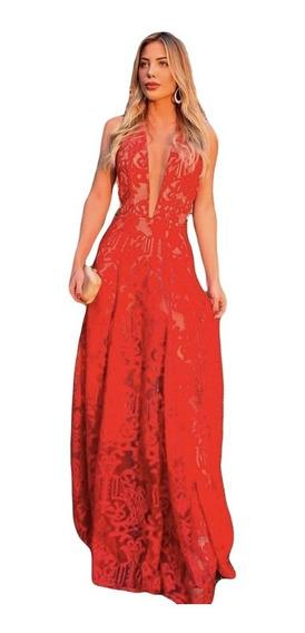 Vestido Festa Longo Madrinha Casamento Formatura Vermelho