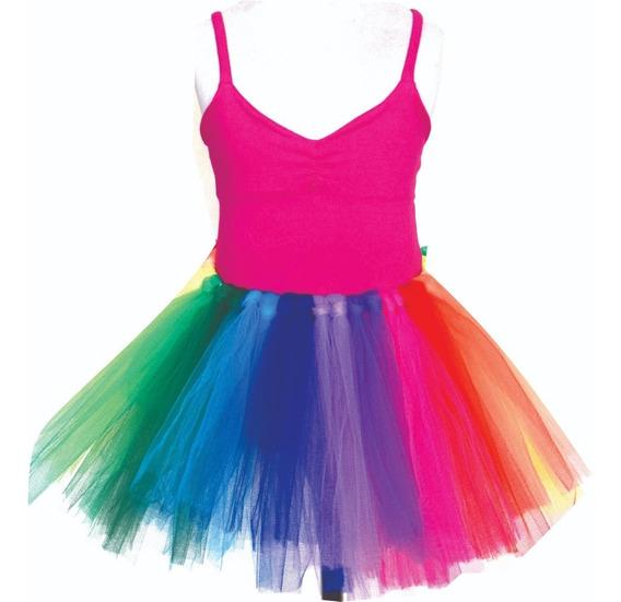 Tutu Multicolor O Fantasia Colores Y Malla Breteles U Otra