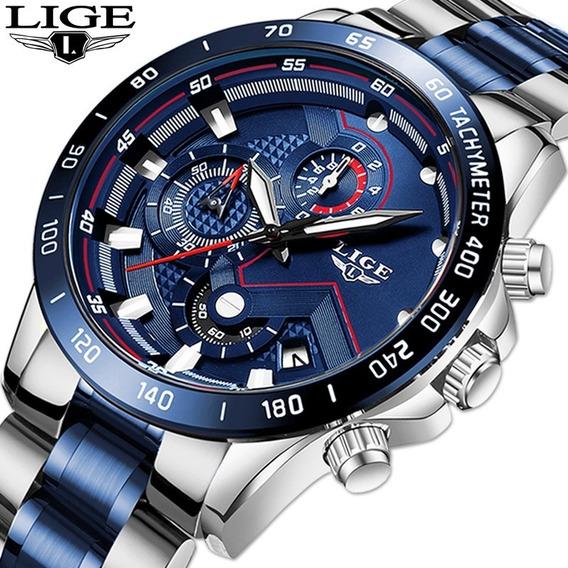 Relógio Esportivo Casual Lige Original Azul