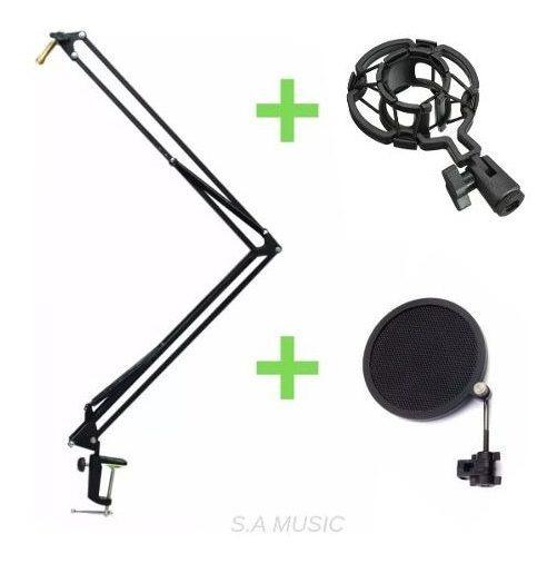 Suporte Pedestal Articulado Microfone+shock Mount+pop Filtro