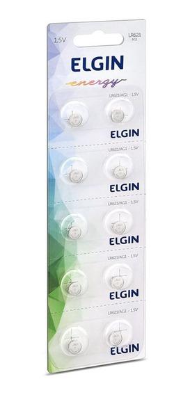 Cartela Com 10 Baterias De Lítio Moeda Elgin Lr621/ag1 82307