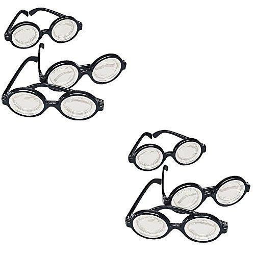 Gafas De Plástico Divertidas Para Nerd, Marco Negro (paquete