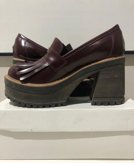 Zapatos Mocasines Plataforma Nazaria Bordo