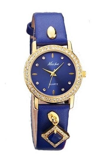 Relógio Feminino Miss Fox Luxo Couro Elegante Importado Luxo