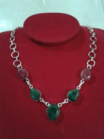 Colar Gargantilha Prata 925 Pedra Esmeralda E Rubi Indiano