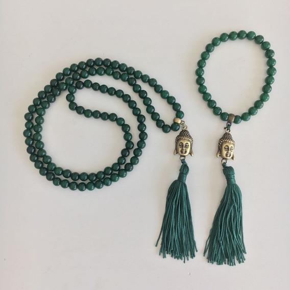 Kit Japamala De Pedra (108contas)(27contas) - Jade Esmeralda