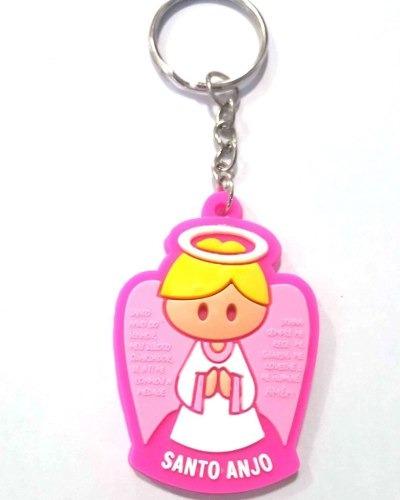 12 Chaveiro Borracha Santo Anjo Da Guarda Lembrancinha Rosa