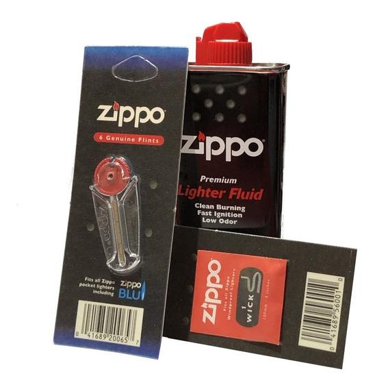 Combo Bencina Zippo 1 Mecha+6 Piedras+1 Fluido X 125ml Orig
