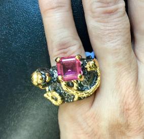 Anel Em Prata C/banho De Ouro Negro C/cristal Turmalina Pink
