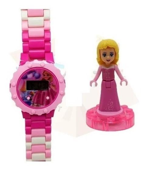 Relógio Digital Criança Infantil Princesa Com Boneca Lego