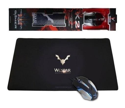 Mouse Gamer Wesdar 2400dpi + Mousepad, Nf E Garantia