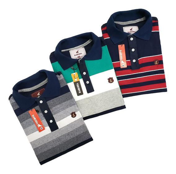Kit Com 3 Camisas Polo Masculinas Baratas 100% Algodão