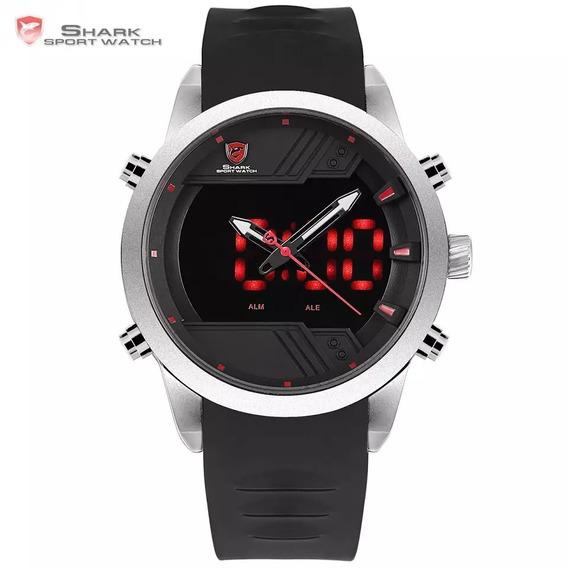 Relógio Digital Shark Sh540 Alarme Duplo E Pulseira Silicone