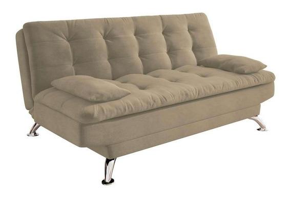 Sofá-cama 3 Lugares Casal Premium Suede Velvet Bege