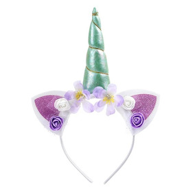 Diadema Tocado De Unicornio Con Cuerno Y Flores Niña Niñas