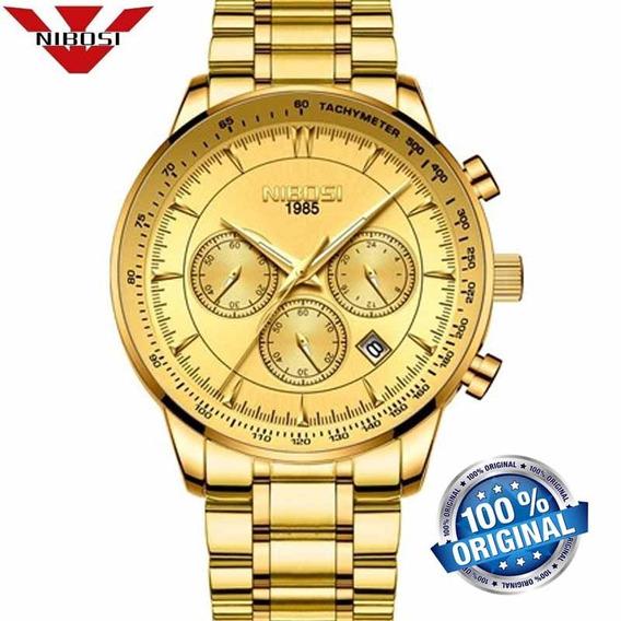 Relógio Masculino Nibosi 2357 Dourado De Luxo Original