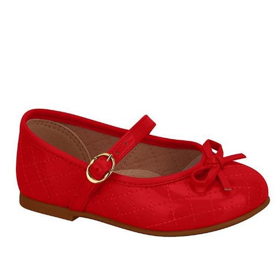 Sapatilha Boneca Molekinha Vermelha Verniz Laço 010098