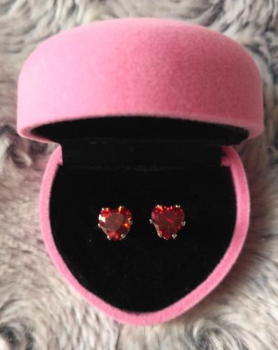 Aretes Corazon Princesa Swarovski Crystals Nuevo Con Estuche