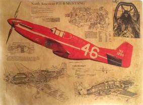 Poster Avião Mustang P51 - 51x36