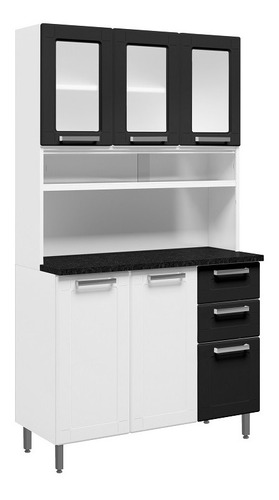 Kit Cozinha Bertolini Múltipla Em Aço 06 Portas Branco/preto