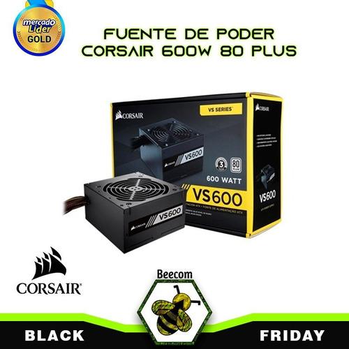 Fuente De Poder Corsair Vs600 Watts 80 Plus