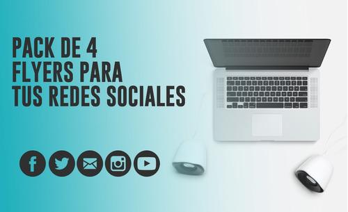 Pack 4 Flyers Para Redes Sociales Diseño Grafico