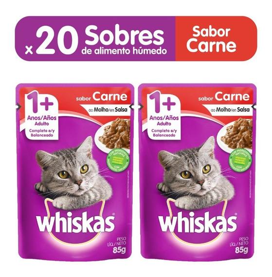 Comida Para Gatos Whiskas Sobres Adulto Carne X85gr(pcx20un)