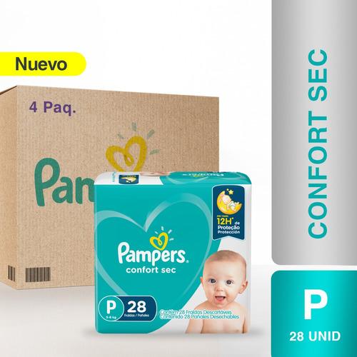 Imagen 1 de 5 de Pañales Pampers® Confort Sec -  Caja De 4 Paquetes Talla P