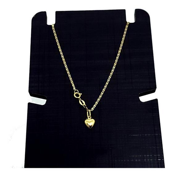 Cordão De Ouro 18 K Piastrine 50cm C/ Ping Coração