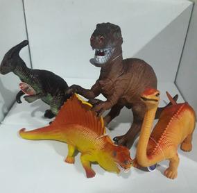 Kit Com 4 Brinquedo Dinossauro Borracha Tamanho Grande
