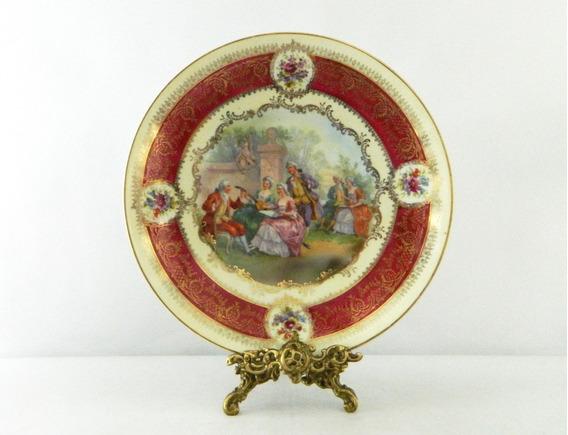 Plato Decorativo De Porcelana Viejo Viena De 25 Cm X 4 Cm
