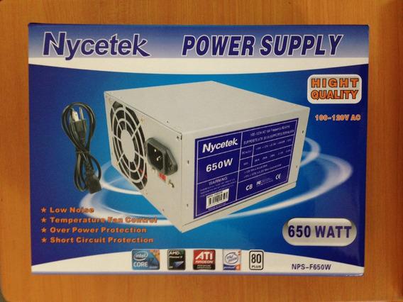 Fuente De Poder Nycetek/wash 650w Atx 20+4 Kingpc 25 Tienda