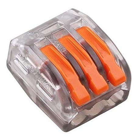 50x Conector Derivação Cristal Jack 3 Vias Tipo Wago 222-413