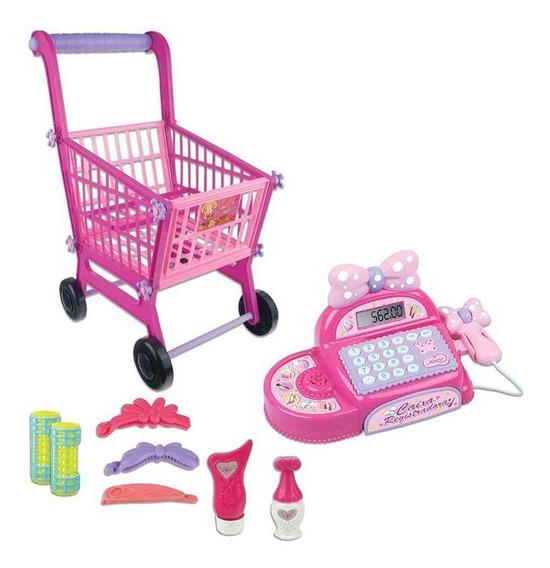 Mini Mercado - Registradora E Carrinho - Rosa - Fênix