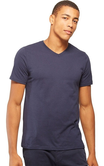Camiseta Básica Gola V Marinho - Basicamente By Malwee
