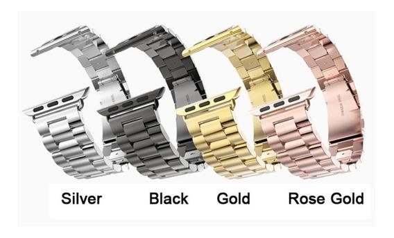 2 Pulseiras Aço Inox P/ Relógio Apple Watch 38 A 44mm +ajust