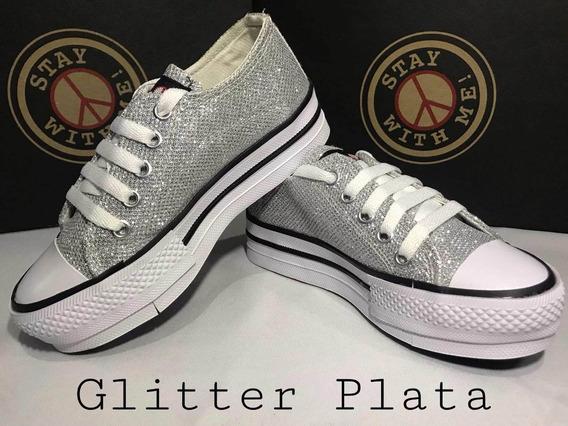 Zapatillas Stay With Me! Con Plataforma Glitter Plata